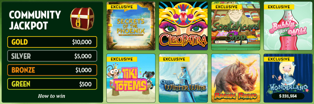 Online slot choices at Tropicana